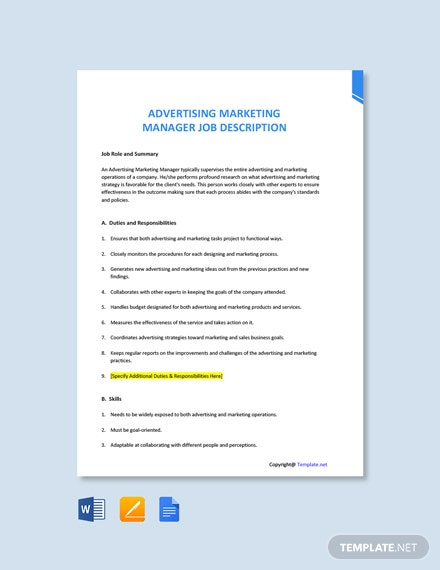 Free Advertising Marketing Manager Job Ad and Description Template