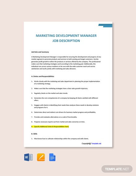 Free Marketing Development Manager Job Ad and Description Template