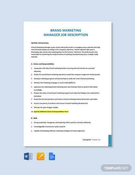Free Brand Marketing Manager Job Ad and Description Template