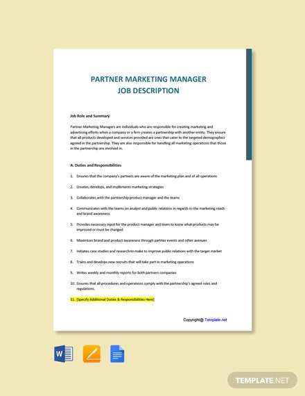 Free Partner Marketing Manager Job Ad and Description Template