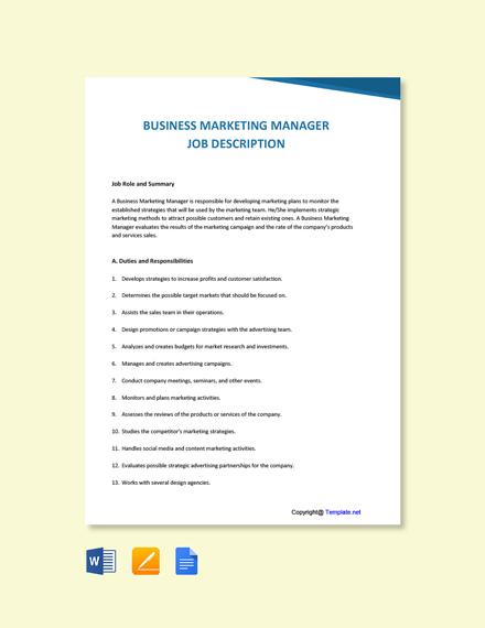 Free Business Marketing Manager Job Description Template