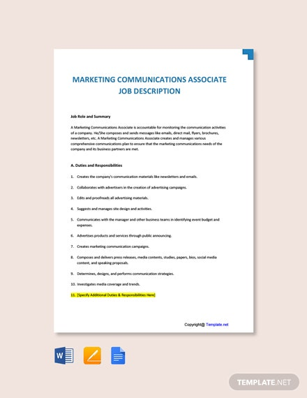 Free Marketing Communications Associate Job Description Template