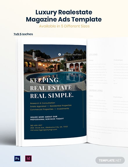 Free Luxury Real Estate Magazine Ads Template