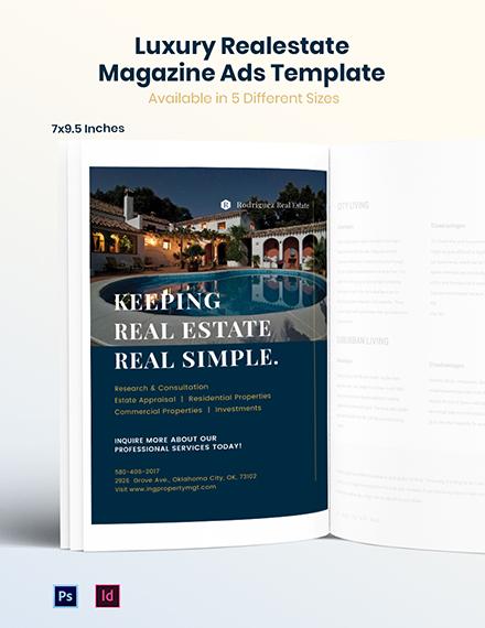 Luxury Real Estate Magazine Ads Template