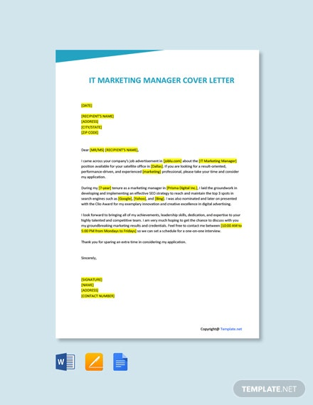 Free IT Marketing Manager Cover Letter Template