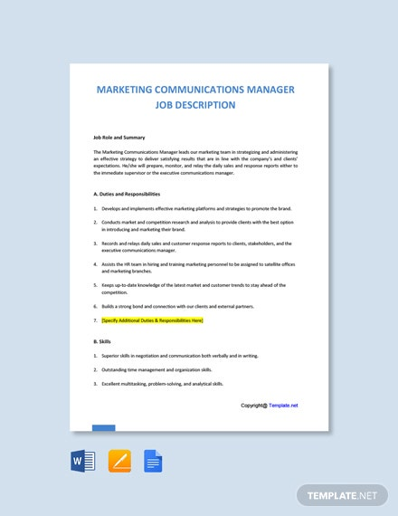 Free Marketing Communications Manager Job Description Template