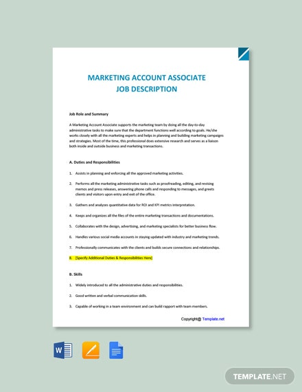 Free Marketing Account Associate Job Description Template
