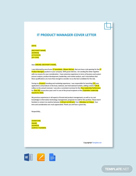 IT Product Manager Cover Letter Template