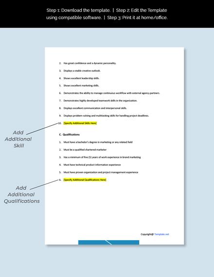 Marketing Services Manager Job Description Template