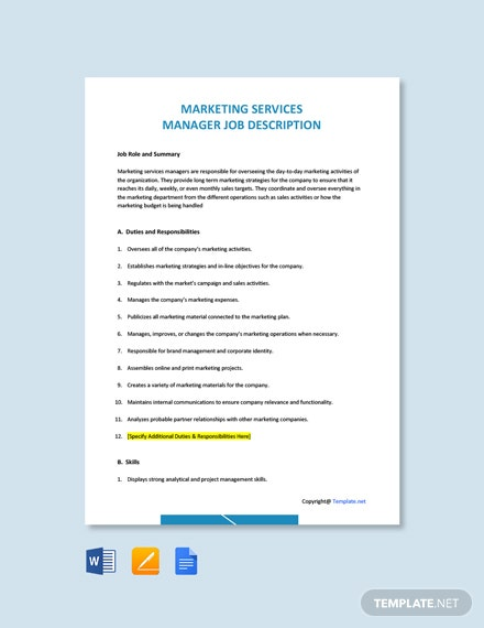 Free Marketing Services Manager Job Description Template