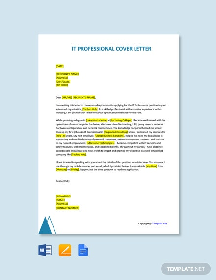 Free IT Professional Cover Letter Template