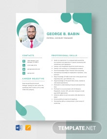 Payroll Account Manager Resume Template