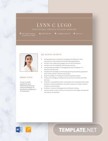 Free Professional Services Account Manager Resume Template
