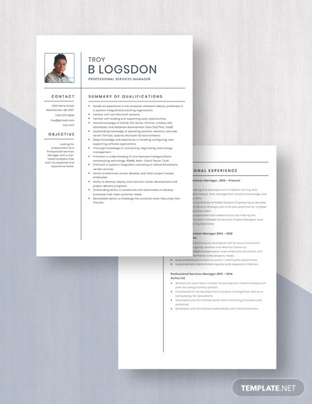 Professional Services Manager Resume Download