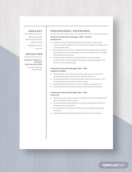 Professional Services Manager Resume Template