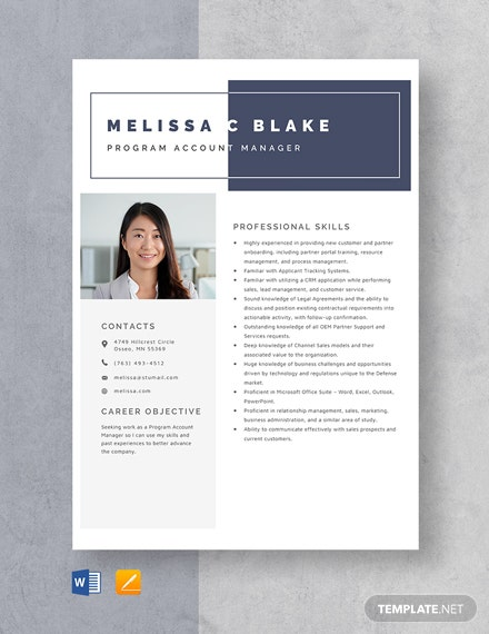 Program Account Manager Resume Template