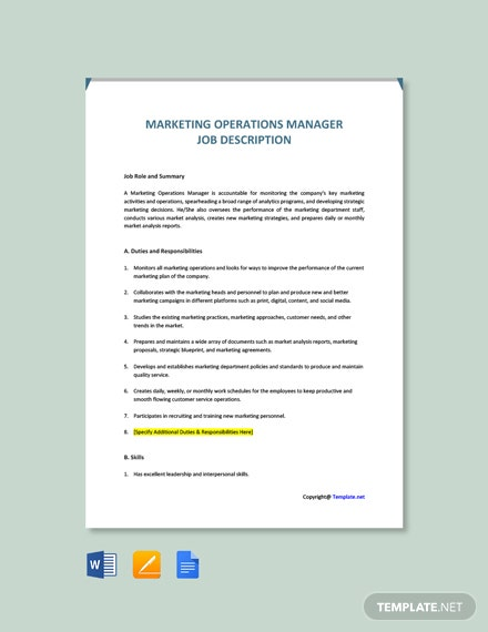 Free Marketing Operations Manager Job Description Template