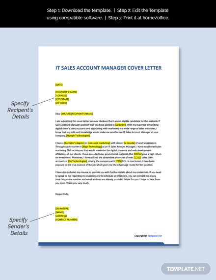 IT Sales Account Manager Cover Letter Template