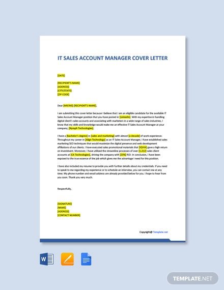 Free IT Sales Account Manager Cover Letter Template