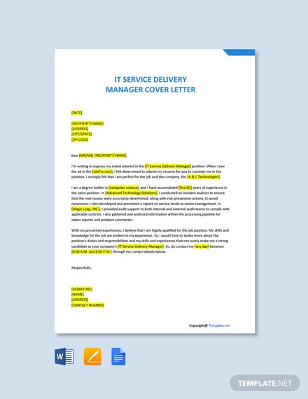 Free IT Service Delivery Manager Cover Letter Template