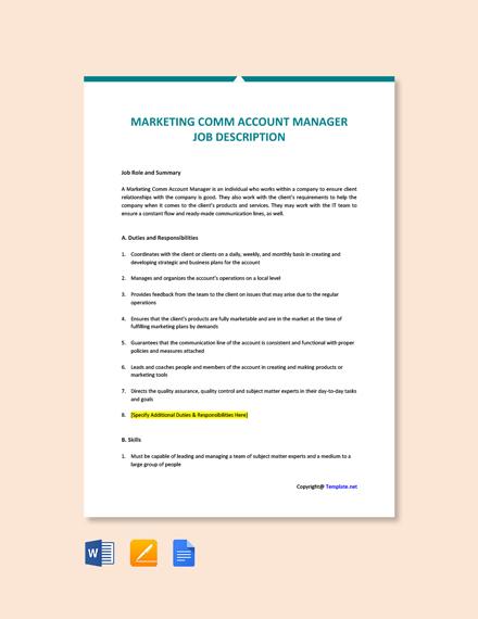 Free Marketing Comm Account Manager Job Description Template