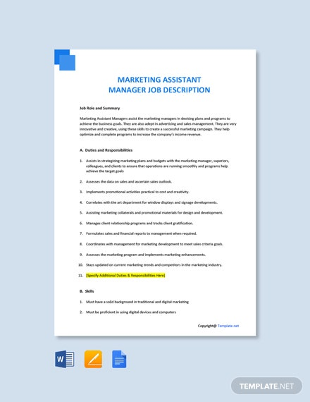 Free Marketing Assistant Manager Job Description Template