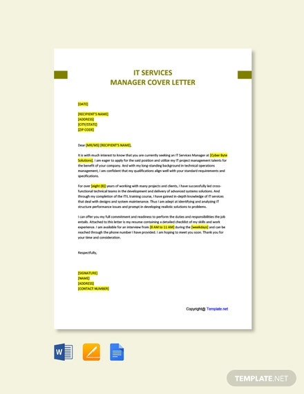 Free IT Services Manager Cover Letter Template