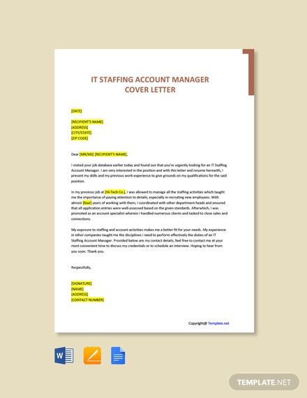 Free IT Staffing Account Manager Cover Letter Template