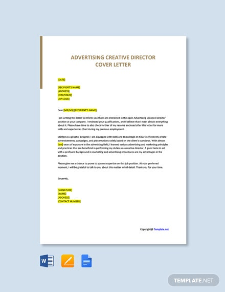 Free Advertising Creative Director Cover Letter Template