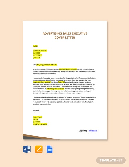 Free Advertising Sales Executive Cover Letter Template