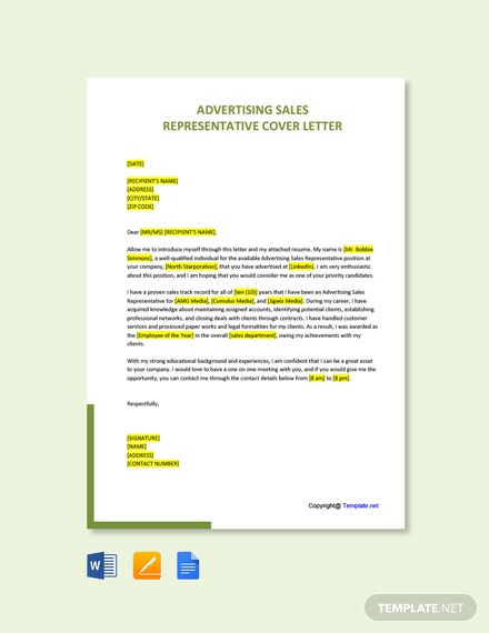Free Advertising Sales Representative Cover Letter Template