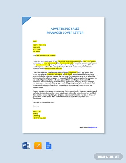 Free Advertising Sales Manager Cover Letter Template