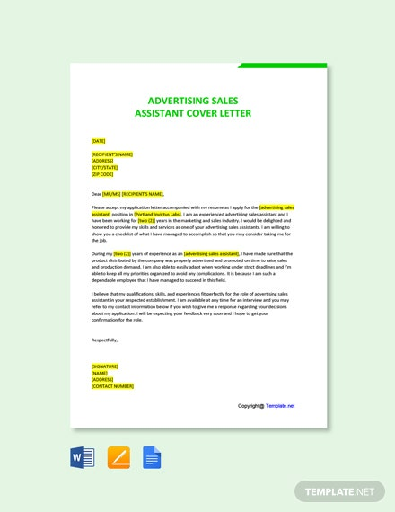 Free Advertising Sales Assistant Cover Letter Template