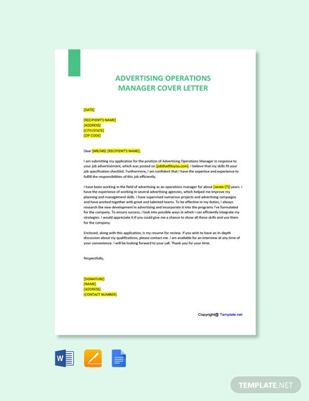 Free Advertising Operations Manager Cover Letter Template