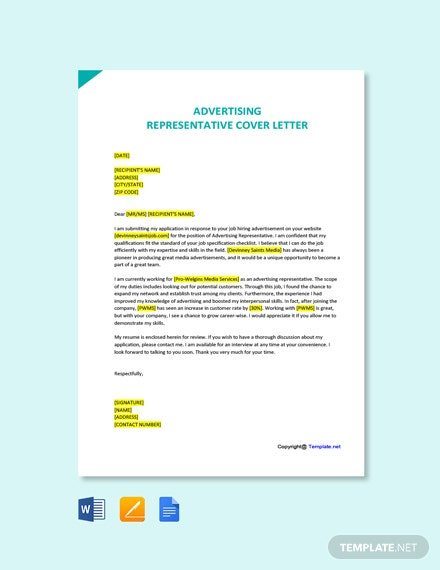Free Advertising Representative Cover Letter Template