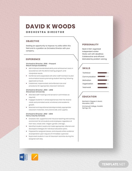 Orchestra Director Resume Template