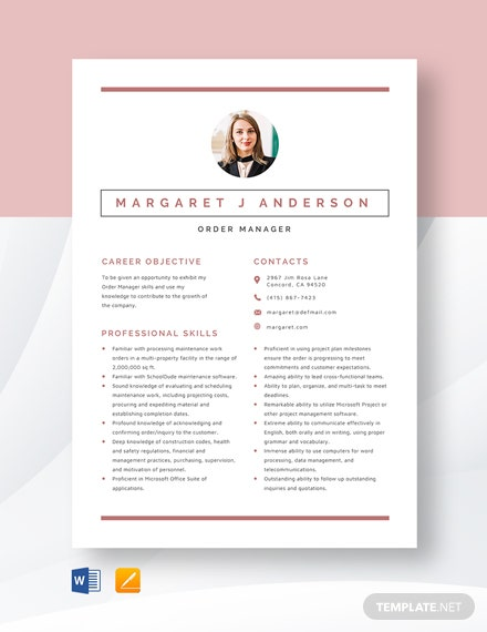Order Manager Resume Template