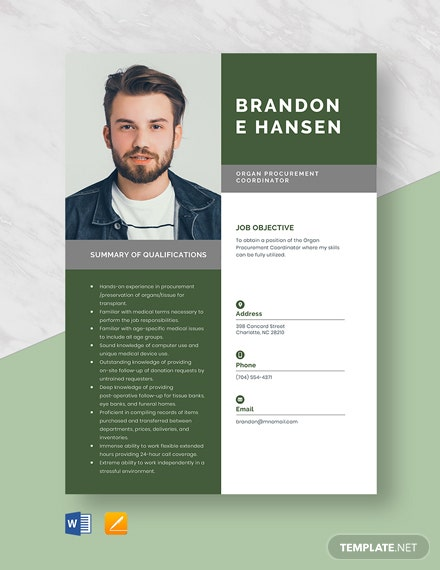 Free Organ Procurement Coordinator Resume Template