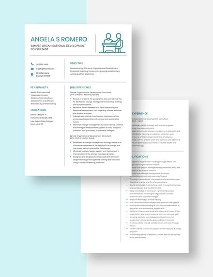 sample organizational development consultant resume Download