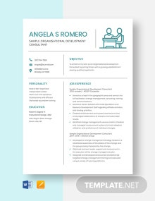 Free Sample Organizational Development Consultant Resume Template
