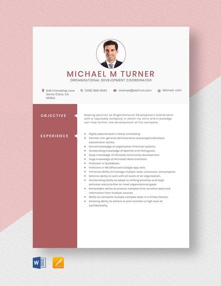 Organizational Development Coordinator Resume