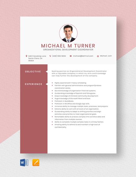 Organizational Development Coordinator Resume Template