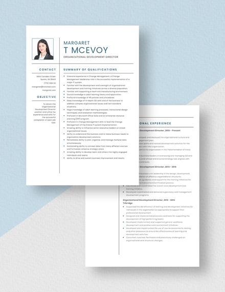 Organizational Development Director Resume Download