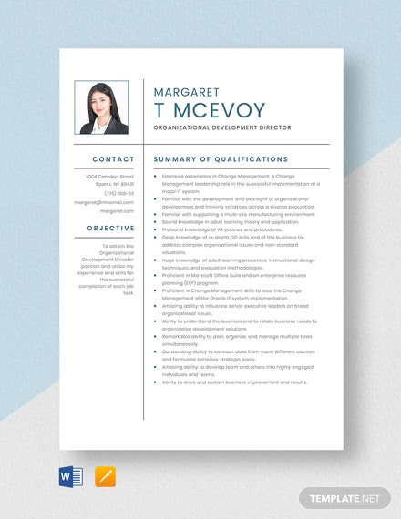 Free Organizational Development Director Resume Template