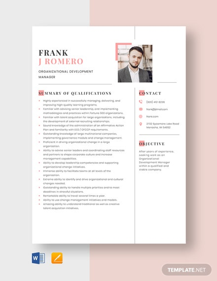 Free Organizational Development Manager Resume Template