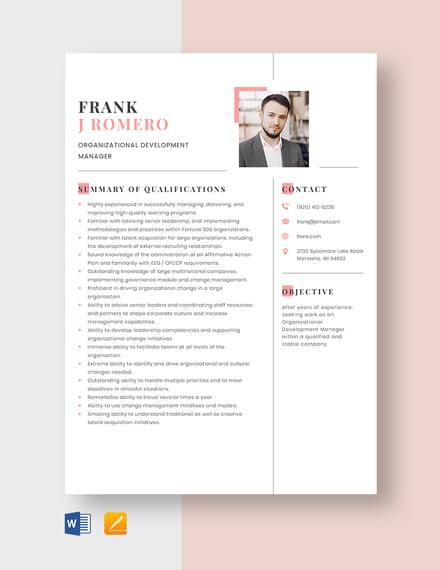 Organizational Development Manager Resume