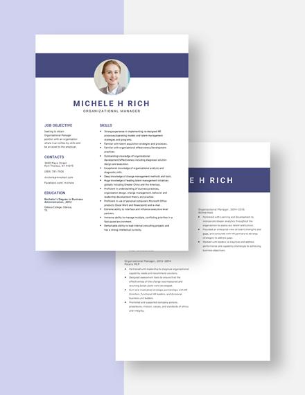 Organizational Manager Resume Download