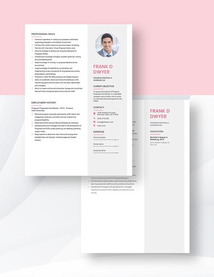 Program Proposals Coordinator Resume Download