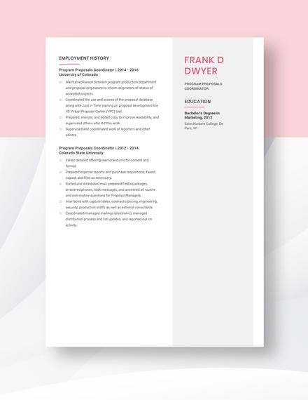 Program Proposals Coordinator Resume Template