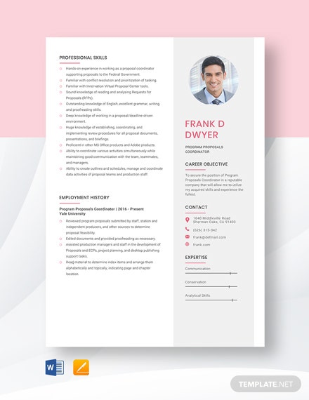 Free Program Proposals Coordinator Resume Template